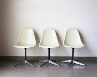 Sold *** Set of 3 Herman Miller by Eames White Fiberglass Shell chairs on contract / swivel base