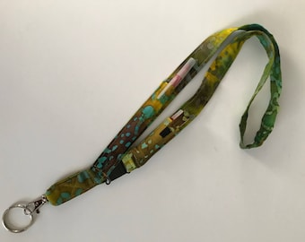 Green Batik Pouch Lanyard, Gift for Nurses, Teachers, ID Badge Holder, Gifts under 20
