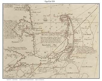 Cape Cod 1734 Map showing Pirate Ship Whydah Sinking - Custom Reprint - Horizontal