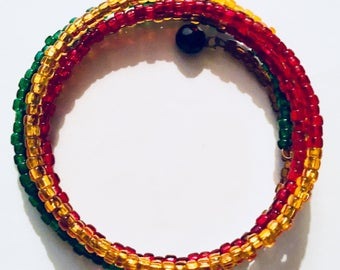 Seed Bead Memory Wire Bracelet in Red, Green and Gold