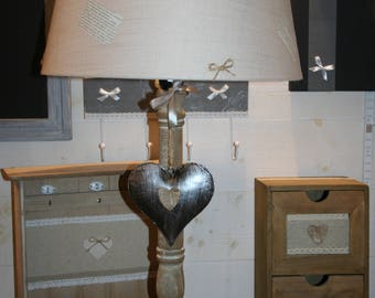 large lamp and Brown limed old book and heart