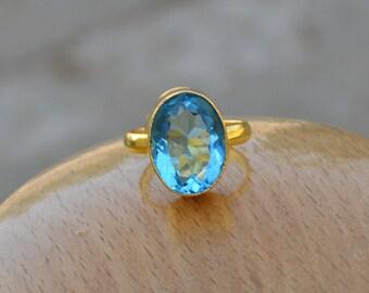 Blue Topaz Gemstone Ring -Sterling Silver Micron Yellow Gold Ring -Blue Gemstone Ring -Birthstone Ring -Yellow Gold Ring- Gemstone Jewelry