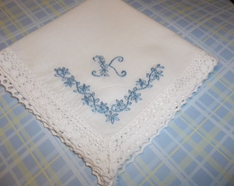 Something blue wedding handkerchief, hand embroidered, bouquet wrap, dainty letter, wedding colors welcome, bride gift