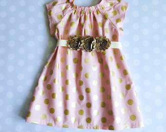 Peach Blush and Gold Polka Dot Dress - Baby Girl Dress - Girls Dresses - Easter Dresses - Easter Dresses for Girls - Baby Girl Easter Dress