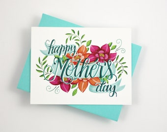 Happy Mother's day card   - one card with a color envelope