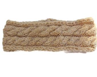 Beige Knit Headband, Wool Ear Warmer, Cabled Chunky Bandana.
