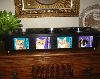 Made to Order  3 Bowl Elevated Cat Feeder