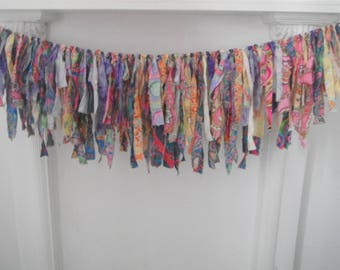 rag garland gypsy decor bohemian garland vibrant decor boho decoration tattered garland frayed bedroom garland patterned garland 3 feet ft