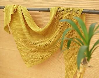 Knitted shawl, oversized lace shawl, merino wool shawl, triangular shawl, mustard shawl, triangle scarf, gift for her, women accessory