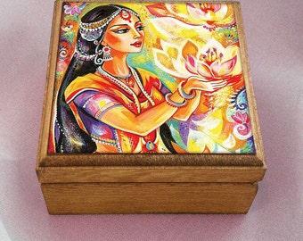 Spiritual art, praying woman, inspirational painting, Indian decor, goddess art, handmade art box, treasure box, 3.5x3.5+