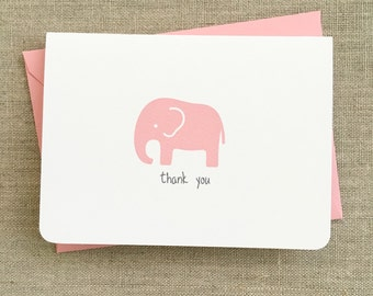 Baby Shower Thank You Cards Girl Baby Elephant