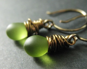 BRONZE Earrings - Frosted Green Dangle Earrings, Wire Wrapped Drop Earrings. Handmade Jewelry.