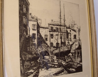 "Lionel Barrymore 1940's Etching "" Little Boatyard, Venice Under Glass Wood Frame Great Gift"