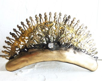 Fairy Tiara Byzantine inspired filigree metal for steampunk bride distressed antique brass and bronze color from Queen to Edwardian Ball