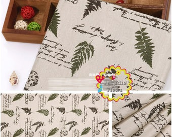 1 x coupon 50x145cm foliage printed pattern pure linen fabric