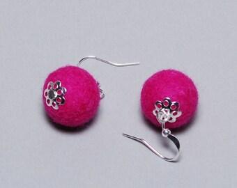 Felt Earrings - Felt Ball Earrings - Unique Earrings - Unique Gift - Mothers Day Gift - Pink Silver Plated Earrings