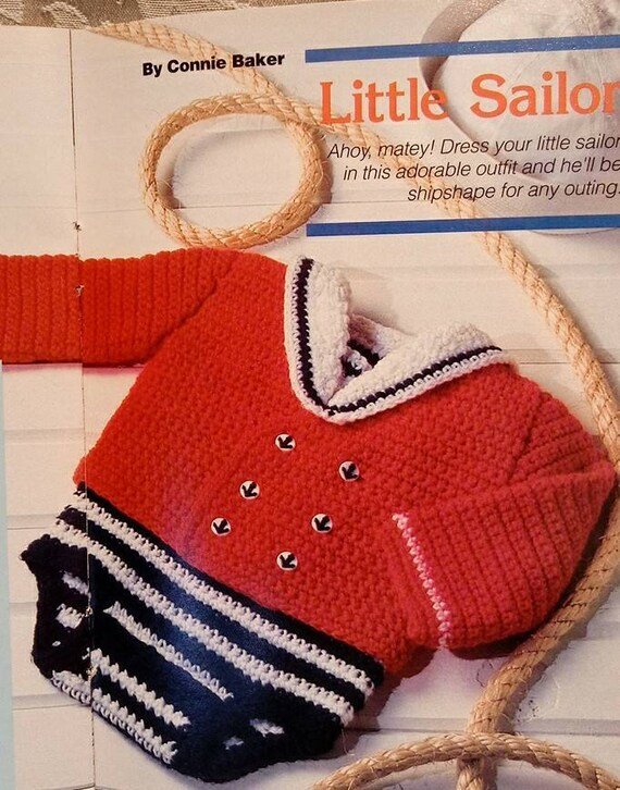 Little Sailor Suit Baby Boy Crochet Pattern Vintage Red White Blue