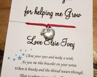 Teacher gifts, Teacher thank you gifts, Special teacher, Teacher gift, Personalised teacher gift, Personalized teacher gift, Wish bracelets