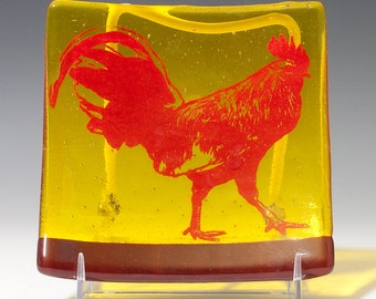 Rooster Fused Glass Catch All Dish, Rooster Keys And Coins Tray, Farm Animal Square Dish