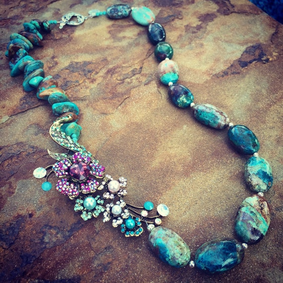 Genuine Turquoise and Brooch Statement Necklace and Earring Set
