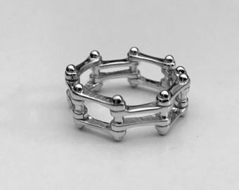 Motorcycle Chain Ring, Sterling Silver Ring, Biker Ring, Gifts for Her,  Gifts for Him, Sterling Motorcycle Ring