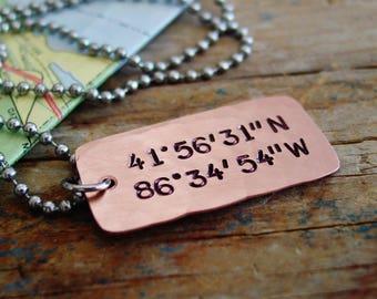 Latitude Longitude Necklace, GPS Coordinates, Mens Location Necklace, Latitude Longitude Jewelry, Gift for Him,Deployment,Long Distance Gift