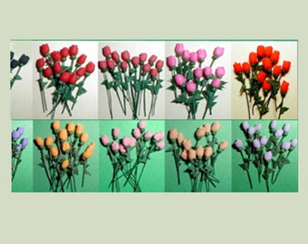 100 Miniature Roses with Leaves, Dollhouse Scale, Use for Crafting
