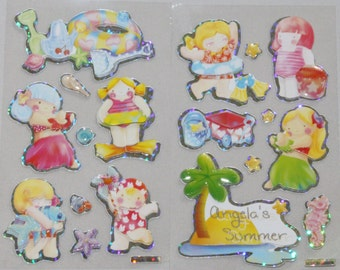 18 x Beach Girl Stickers 3D Paper Tole angela's summer holiday sea shells
