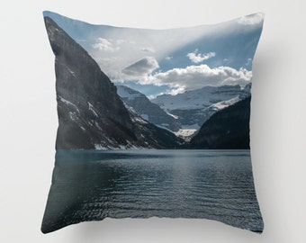 Lake Louise Pillow Cover, Blue Lodge Decor, Rustic Cottage Accent, Earthy Sofa Throw Cushion Case, Canadian Rocky Mountain Snow Capped Peaks