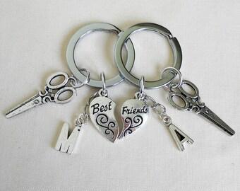 Antique Silver Keychain, Best friend , Personalized Initial, scissors, love heart charm Keychains,BF GF Keychain,birthday gift , BFF Gift,