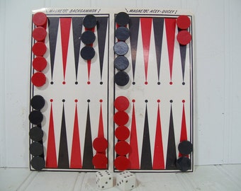 Magnetic Backgammon & Acey Ducey Travel Remotrol Game - Vintage Retro Red and Black 32 Pieces Pocket Set with Folding Board and Instructions