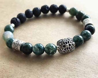 Essential Oil Stretch Diffuser Bracelet - Faceted Moss Agate & Lava Absorb Bead - 7 inch - Silver Tone - Love Light Peace Meditation Elegant