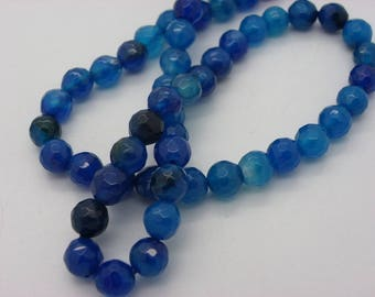 47-48 agate 8 mm agate faceted sold in hard blue thread