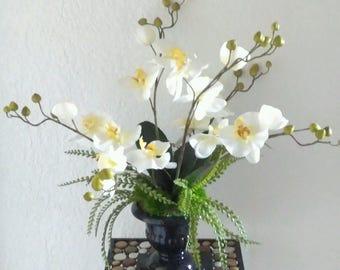 Phalaenopsis orchid centerpiece.  Silk Flower Arrangement, floral