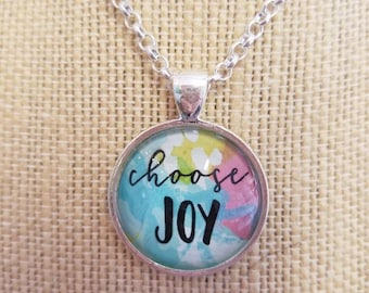 BYE BYE SALE!  Choose Joy...Painted Quote Necklaces, Inspirational Charms Jewelry , Yoga Inspired, Be Positive, My Tribe