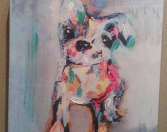SALE Darling Oil of Boston Terrier...Wrapped Canvas...12x12...