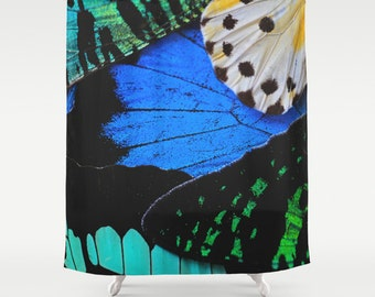 Butterfly Wings Shower Curtain, Blue Butterfly, Cottage Decor, Boho Shower Curtain, Farmhouse Chic, Nature Decor, Rustic, Gifts for Women