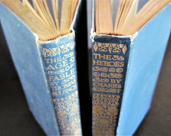 Vintage Blue Books, Blue Book Stack, Kingsley The Heroes, Thomas Bulfinch Book, Age of Fable, 1916 Book, 1913 Book, Shabby Blue Books, Books