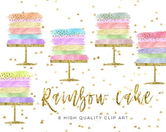 birthday cake clip art, Wedding Cake clip art set, Party rainbow cake clip art, Cake Clipart, Cake Clip Art Digital Cake Wedding brush