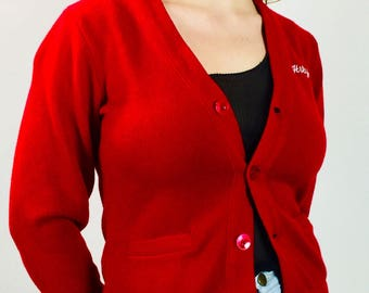 Vintage 90's red fitted parochial school cardigan