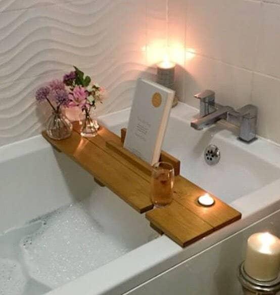 Bath Caddy, Bath Shelf, Father's Day Gift, Bath Plank, Bath Board, Bath Tray, Book, Ipad, Wine, Birthday gift, pamper, spa, gift for her