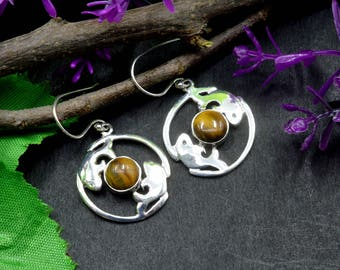 Natural Tiger's Eye Round Gemstone Drop Dangle Earring 925 Sterling Silver E127