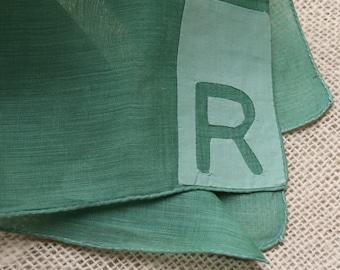 Vintage Hankie Handkerchief Monogrammed Hankie R Green Applique
