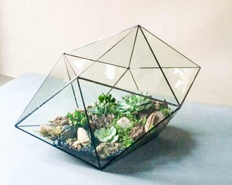 Modern geometric terrarium Hexadecahedron 3 sizes. Glass candle holder