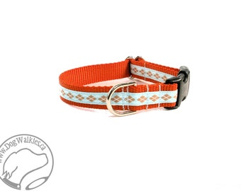 "Orange and Blue Argyle Dog Collar - 3/4"" (19mm) Wide - Choice of size and style - Martingale Dog Collars or Side Release // Aqua // Orange"