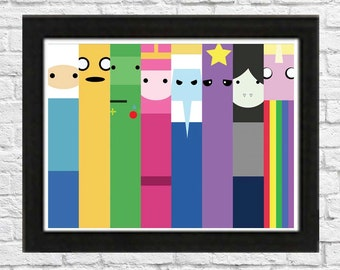 Adventure Time Character Poster Minimalist various sizes available