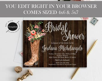 Rustic Bridal Shower Invitation, Rustic Bridal Shower Invitation Template, You Edit, Rustic Wedding Shower Invite, Printable Invitation, DIY