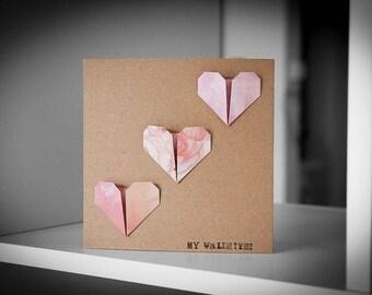 My Valentine 3 Hearts Greeting Card
