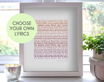 Music poster, Custom Lyrics Art, Our Song, Typographic Lyrics Poster, Personalised Wedding Gift, Customised Song Lyrics, Music Art Print