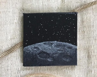 Moon painting, gray, space and stars